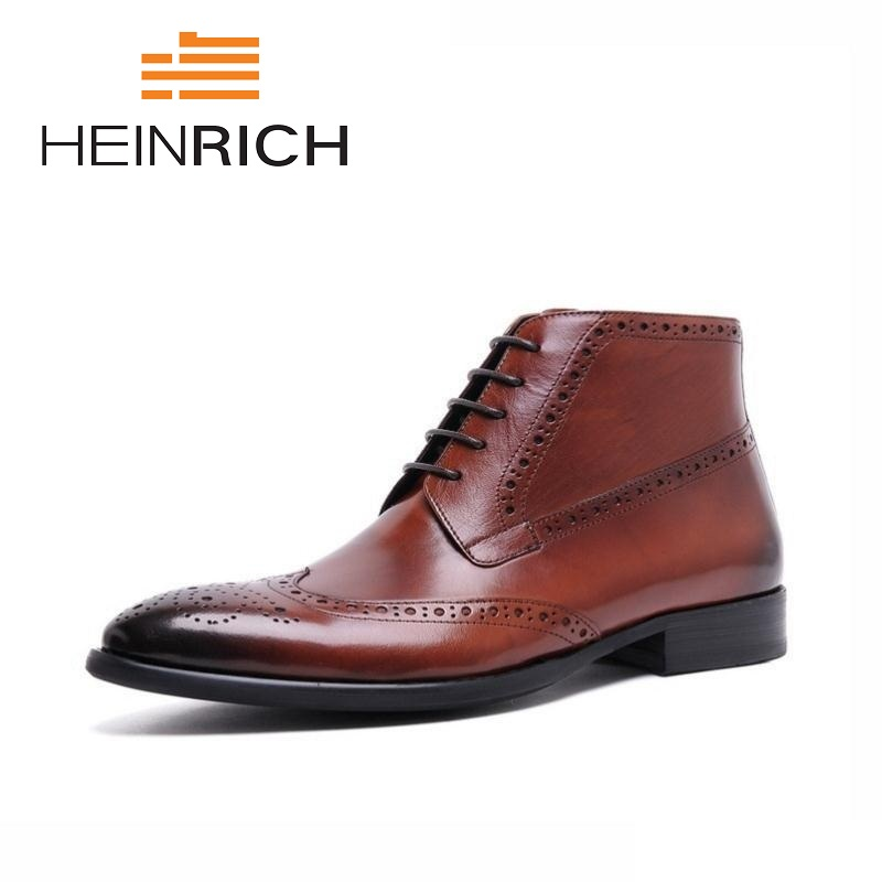 HEINRICH Brand Fashion Brogue Men Shoes Lace Up Brown Men Chelsea Boots High Quality Business Male Ankle Boots Botines HombreHEINRICH Brand Fashion Brogue Men Shoes Lace Up Brown Men Chelsea Boots High Quality Business Male Ankle Boots Botines Hombre