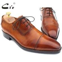 Cie Колпаке Toe Lace-Up Патина Brown 100% Подлинные Мужчины Обувь Из Телячьей Кожи UpperInsole/Подошва Дышащая OX211 GOODYEAR Welted