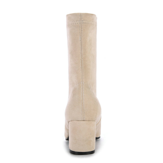 ESVEVA 2018 Comfortable Lining Women Boots Square High Heels Mid-calf Boots Pointed Toe High Quality Sewing Boots Size 34-43
