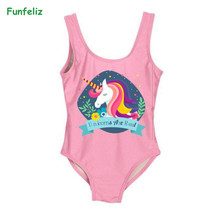 Funfeliz Swimsuit for Girls 2-8 Years Baby Girl One Piece Swimwear Cute Girl Swimming Suit Kids Cartoon Swim Wear недорго, оригинальная цена