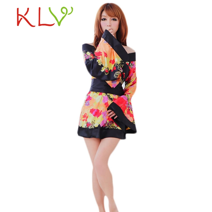 2016 New Women Cherry Blossoms Kimono Pure Sexy Lingerie Night Dress Suit Role-playing Game Temptation Uniform Baby Dolls ~1 image