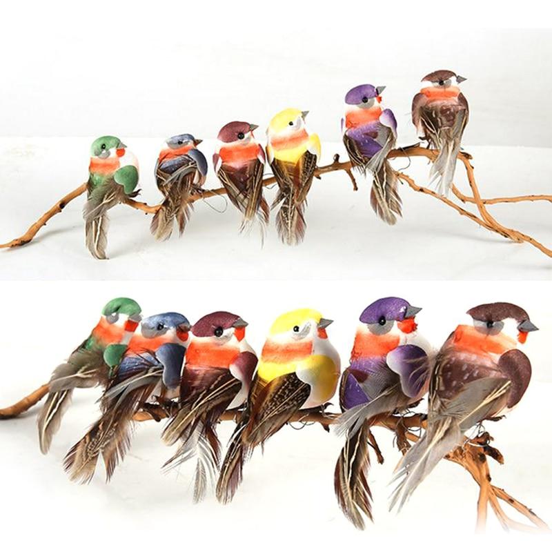 1pc Mini Artificial Parrot Bird Perched Figure Yard Office Table Decoration 8cm