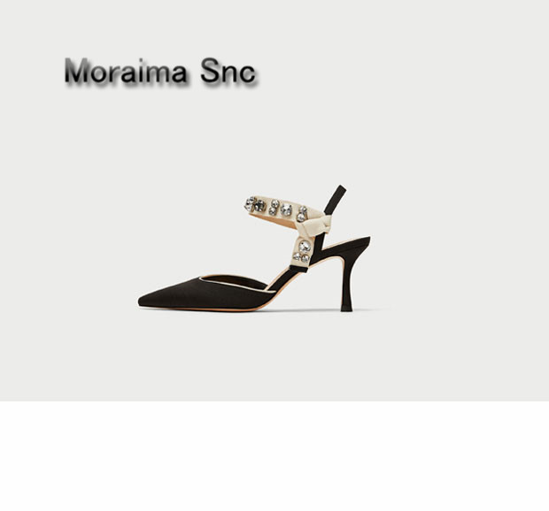 Moraima Snc brand black white stiletto summer shoes women crystal pointed toe high heels sandals ladies butterfly-knot thin heel moraima snc gladiator shoes black peep toe women wedges shoes color crystal butterfly knot platform high heels sandals women