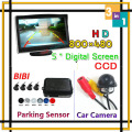 Parking Kit 800*480 HD 5 Inch Car Backup Monitor Display Image + CCD Rear View Camera + Car Parking Sensor 4 Radar Distance