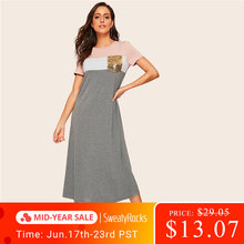 SweatyRocks Sequin Pocket Color Block Tee Dress Women Stretchy Short Sleeve Dress 2019 Summer Casual Modest Long Dress