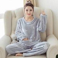 2017 Autumn Winter Women Pajamas Set Sleep Flannel Pant Sleepwear Warm Nightgown Female Cartoon Printing Pants