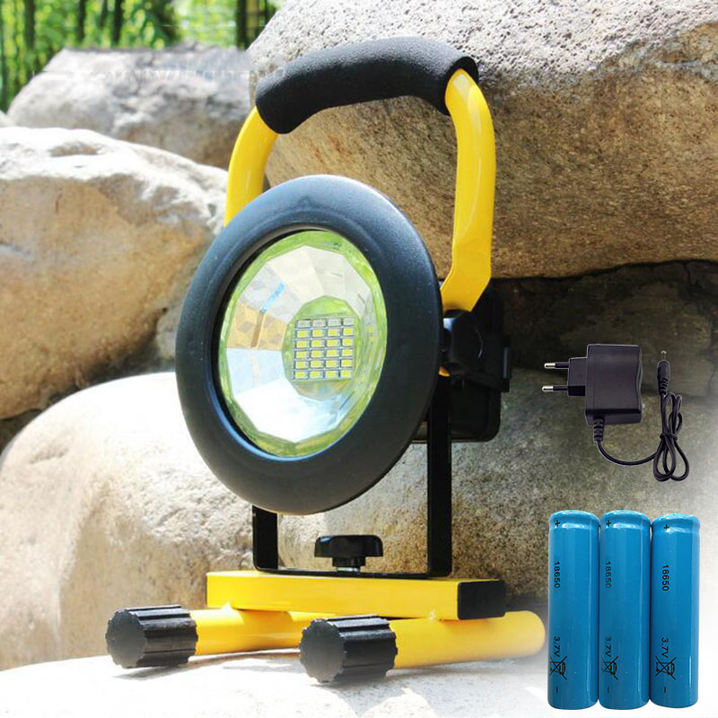 LED floodlight rechargeable 24 Led Floodlight Red/White/Blue Light outdoor Emergency flashlight + 18650 battery AC charger