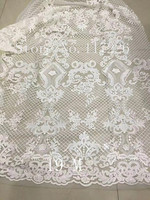 JRB 3323 white glass beads embroidery french net lace fabric for wedding dress/evening dress ship by dhl