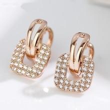 Двойные элегантные квадратные серьги-клипсы для женщин с прозрачным кристаллом розового, белого, золотого цвета, модные ювелирные изделия для ежедневных, вечерние KAE079