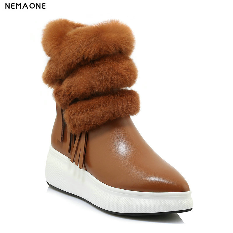 NemaoNe New Arrival 100% Real Fur Classic Mujer Botas Waterproof Genuine Leather Snow Boots Winter Shoes for Women nemaone 100