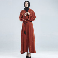 Muslim New Women Dress Dubai Front Open Abaya Pearl Women Organza Dress Cardigan Solid V Neck Zomerjurk Dames