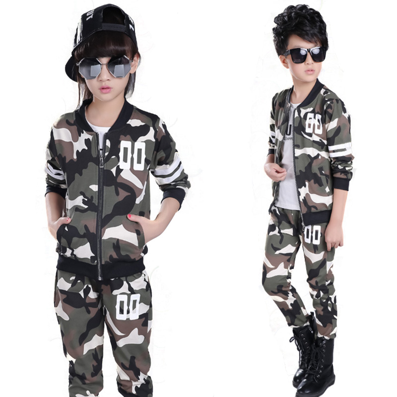 Teenage Girls Clothes Sets Camouflage Kids  Suit Fashion Costume Boys Clothing Set Tracksuits for Girl 6-12 Years Coat+Pants children clothing sets for teenage boys and girls camouflage sports clothing spring autumn kids clothes suit 4 6 8 10 12 14 year
