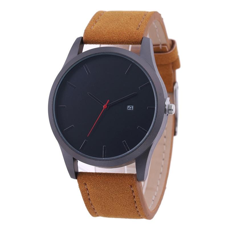 Fashion Casual Mens Quartz Wristwatch Leather Mens Dress Watch Business Watch Big Dial Reloj Hombre Calendar Relogio Masculin