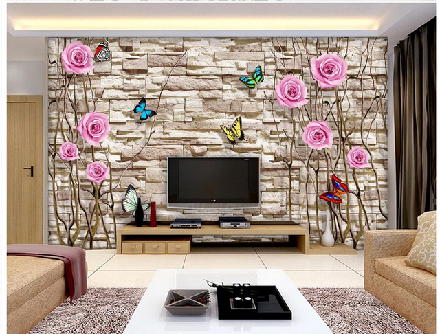 Home Decoration Trunk Rose Butterfly 3D stereoscopic television ...