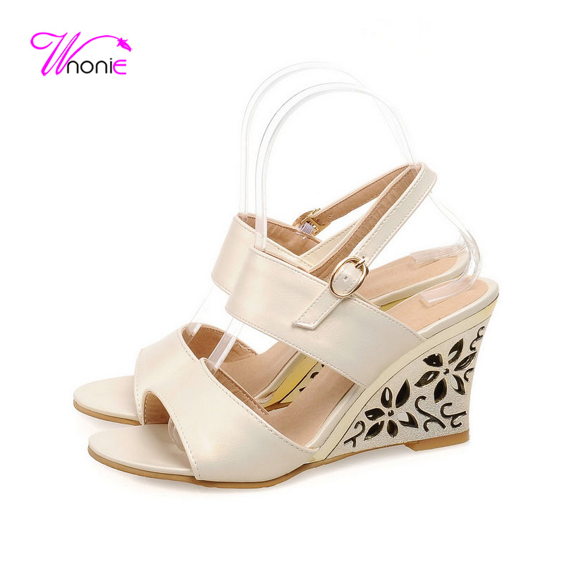 ФОТО 2017 New Fashion Women Sandals Ankle-strap High Heel Gilt Wedge Flower PU Buckle Dress Party Office Summer Cool Sexy Ladies Shoe