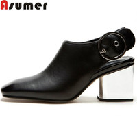ASUMER 2017 new genuine leather women pumps square toe slingback buckle black apricot office lady work dress shoes