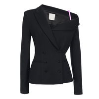 Black notched collor one shoulder asymmetric blazers for women ladies stylish slim fit double breasted inclined shoulder outwear