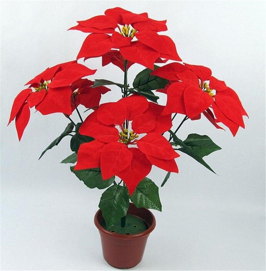 6 adet Yapay Poinsettia Noel Çiçek 48 cm kırmızı / altın / - Tatiller ve Partiler Için - Fotoğraf 2