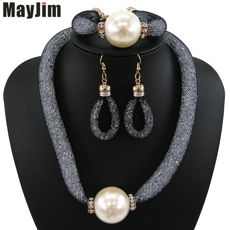 MayJim Fashion Women 2018 perlové šperky soupravy Vintage velká - Bižuterie - Fotografie 2