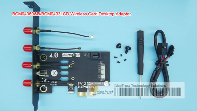 US $16 8 |[IdeaTrust]BCM94360CD BCM94331CD Wireless Card to PCIe 1x Adapter  for desktop PC hackintosh BCM4360-in Add On Cards from Computer & Office