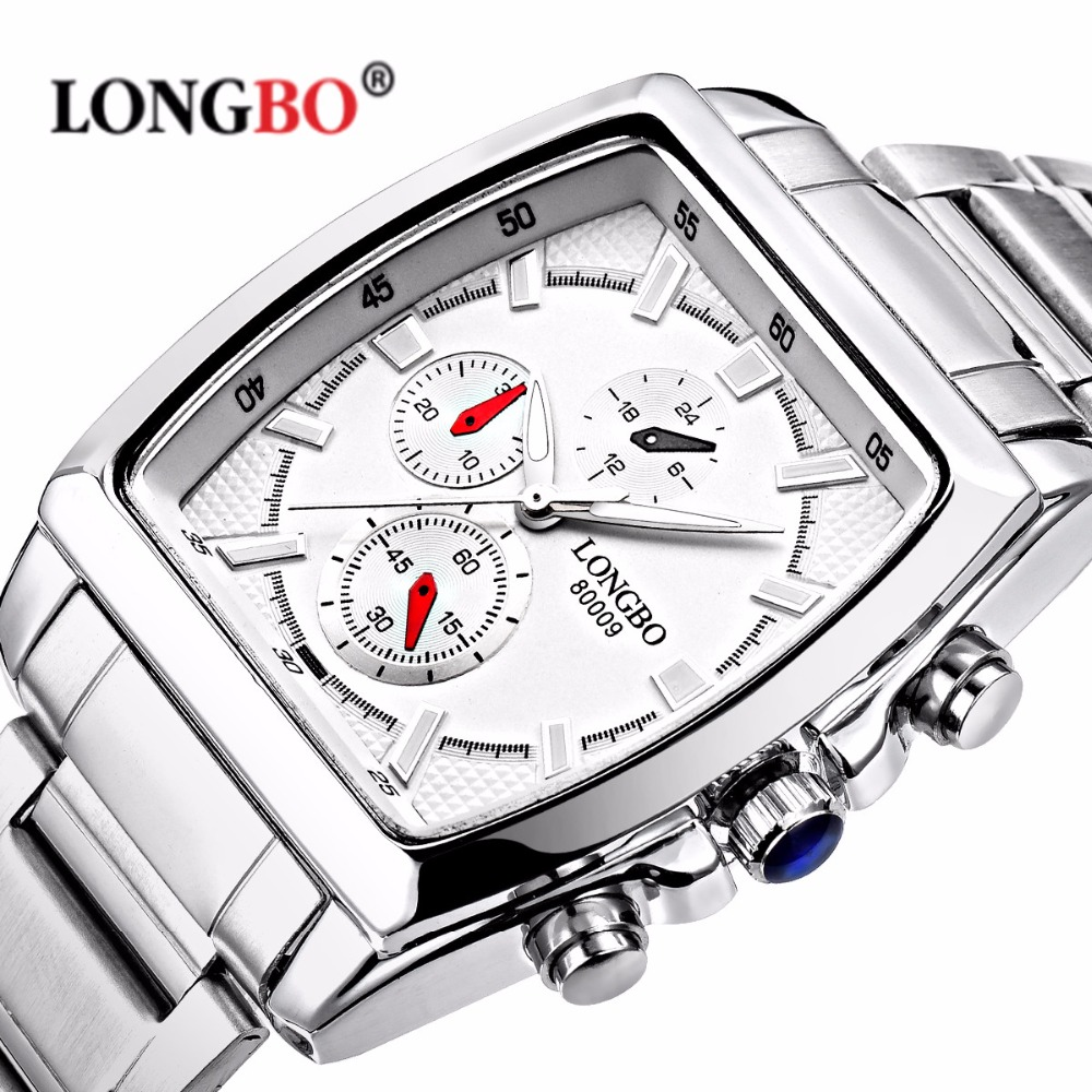 Longbo Brand Quartz Military Sports Watch Men Stainless Steel Strap Watches Casual Wristwatch Full Steel Watch relogio masculino longbo simple square dial lovers quartz watch casual fashion steel strap watches men women couple watch sports analog wristwatch