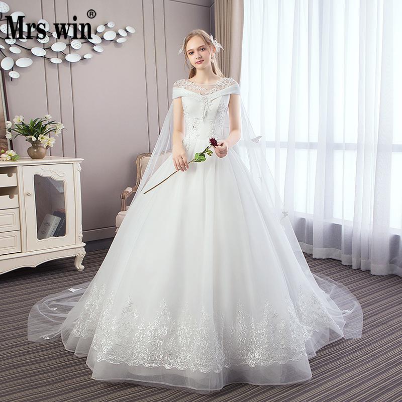 Vestido De Noiva 2018 Princess Wedding Dress Ball Gown Off: Wedding Dresses With 1m Train 2018 New Mrs Win With A Cape
