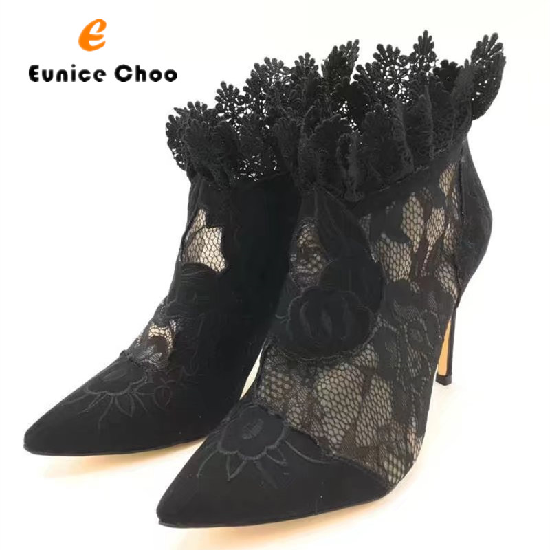 Eunice Choo Leather Lace Mesh Patchwork Women Summer Boots Sexy Embroider Zipper Boots Pointed Toe Elegant Party Shoes Women