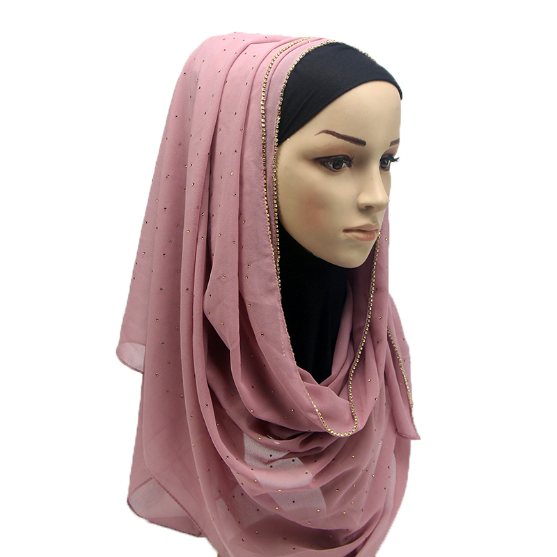 1 Pc Shimmer With Crystal Chain Edged Scarf New Arrival Plain Bling For Lady Bubble Chiffon Hijab Scarf Muslim Scarves Hijabs