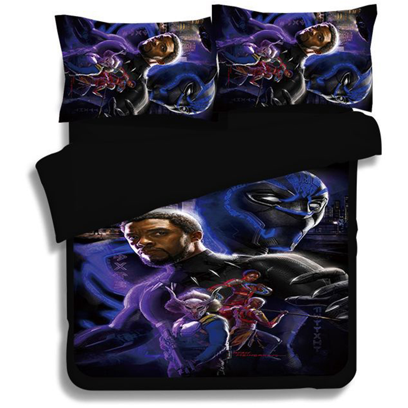 Black Panth 3D Printed bedding set Marvel Superhero Duvet Covers Pillowcases The Avengers comforter bedding sets bedclothes in Bedding Sets from Home Garden