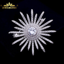 Jewelry Bling Micro Pave Clear CZ Atomic Starburst Brooches Silver Tone Multi Irregular Points Round Shaped Spiky Flower Pins
