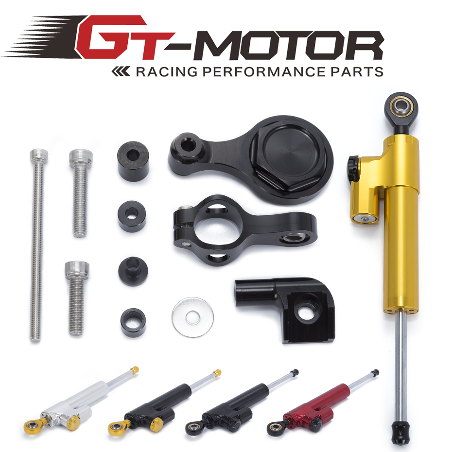 GT Motor - Motorcycle Full Set CNC Steering Damper Stabilizerlinear Stabilizer Bracket Kit For YAMAHA YZF R1 02-16 R6 2006-2016