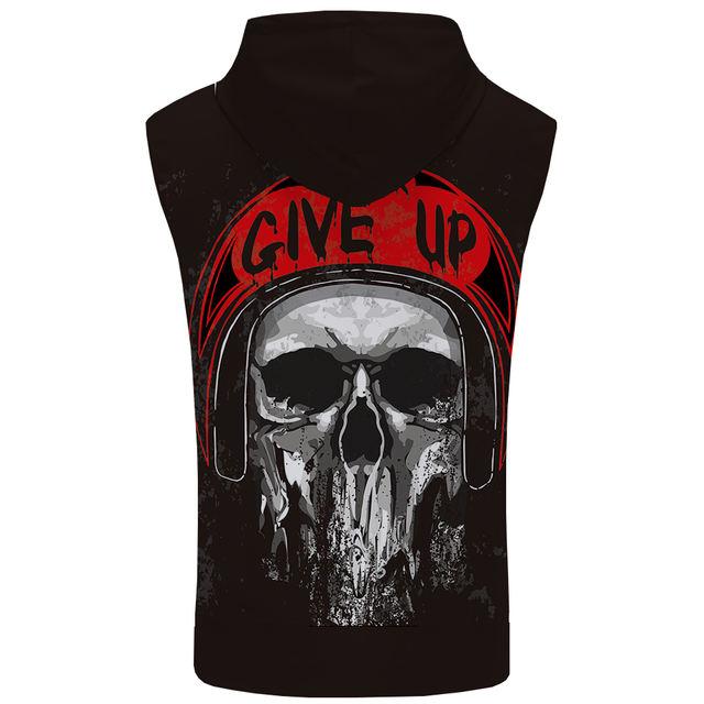 KYKU Skull Sleeveless Hoodie Punk Hooded Hip Hop Singlets Rock Summer Motorcycle Stringer Shirts Mens Clothing Muscle Funny
