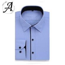 Alimens & Gentle Men's dress casual shirt long sleeve plus size 8xl 7xl 6xl high cotton fashion style Striped color white blue
