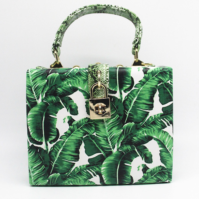 18 Women messenger bags Brand New Elegant Spring Summer Shoulder diagonal Box Bag Woman leave Print art Clutch banquet Handbag 3