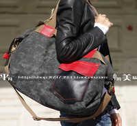 FREE SHIPPING 2019 FASHION women's casual handbag denim genuine leather handbags vintage large cowhide punk bags for women