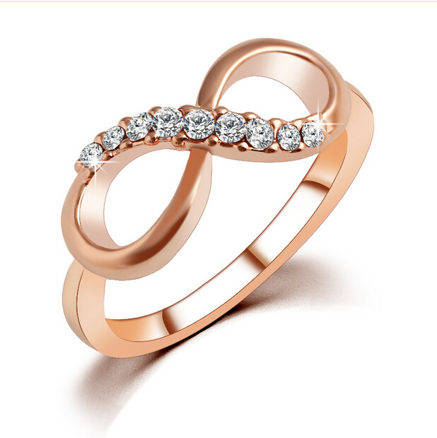 New Top Quality Fashion Rose Gold Color Zircon Crystal Infins