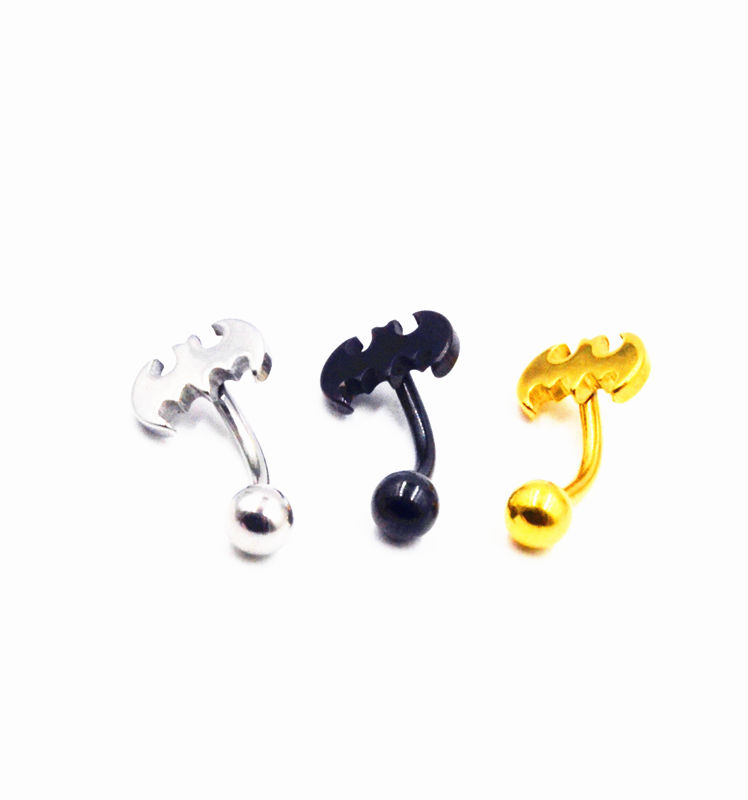 50pcs Stainless Steel Bat Navel Belly Ring Button Navel Bar Body Piercing Jewelry 14G Gold Sliver Black Free Shipping