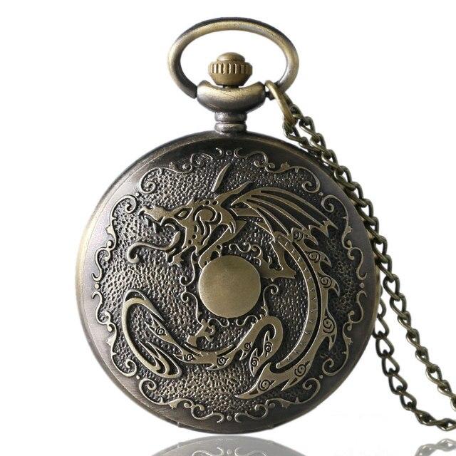 Antique Fiery Dragon Fire Quartz Pocket Watch Necklace Pendant Men Gift New P111