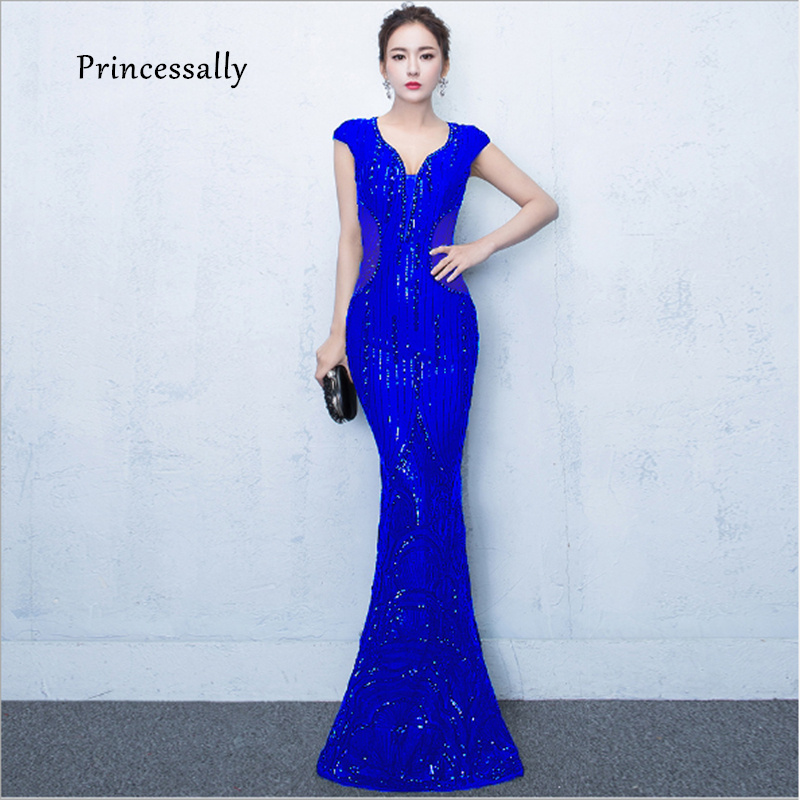 New Royal Blue Mermaid Evening Dress  Illusion Sexy Back Sequin Lace Sexy Banquet Party Dress For Women Long Evening Dress 2019