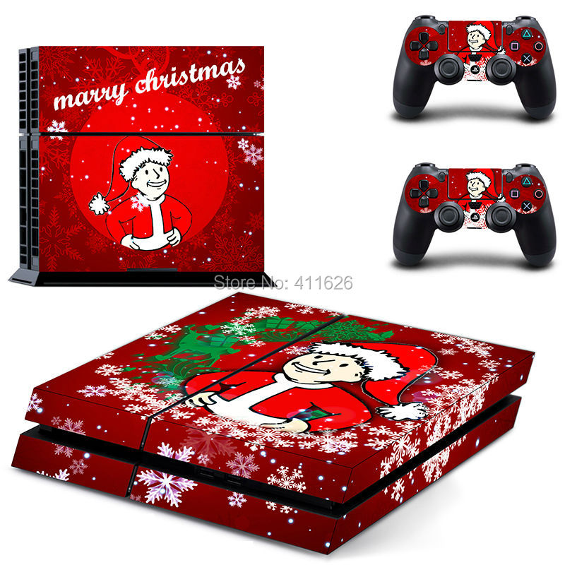 Merry Christmas Style Vinyl Skin Sticker Cover For Sony Playstation 4 For PS4 Console and 2 pcs Controller Stikcer