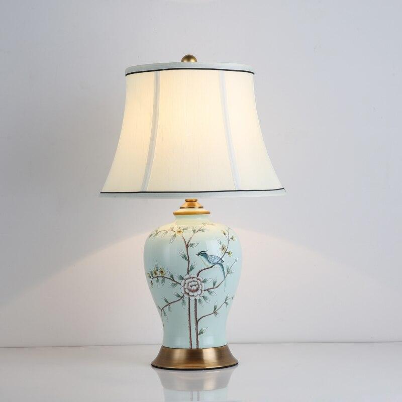Klasická čínská keramická tkanina E27 stmívač stolní lampa pro obývací pokoj Ložnice Studie H 50 cm 1482