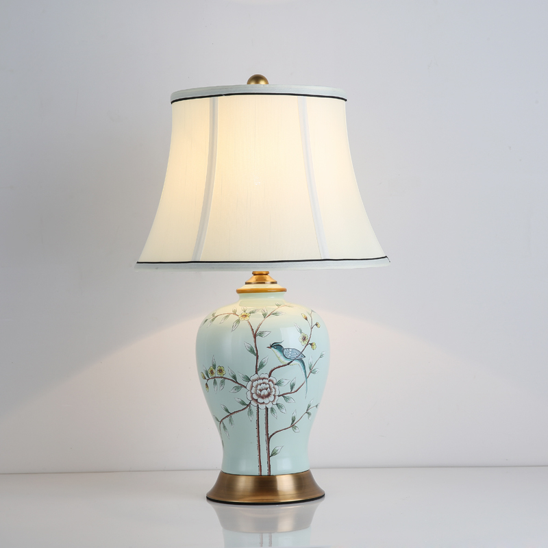 Classical Chinese Ceramic Fabric E27 Dimmer Table Lamp For Living Room Bedroom Study H 50cm 1482