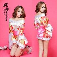O Envio gratuito de Japonês Exótico Kimono Trajes Sexy Lingerie Babydolls Sexy Lingerie Nightgowns Roupão Branco Impressão