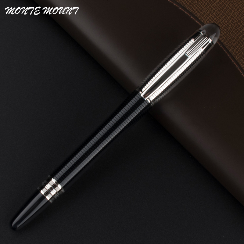 MONTE MOUNT New Roller Ball Pen Stationery Supplies Metal Writing Pen luxury new brand classic gray leather grape pattern roller ball pen classic blance pen mb stationery hot sell