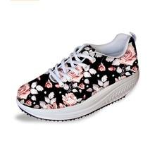 Flores Retro mujeres pisos zapatos de Swing adelgazamiento adolescente  Cartoon enfermera 3D impresión altura creciente zapatos 05496a190106