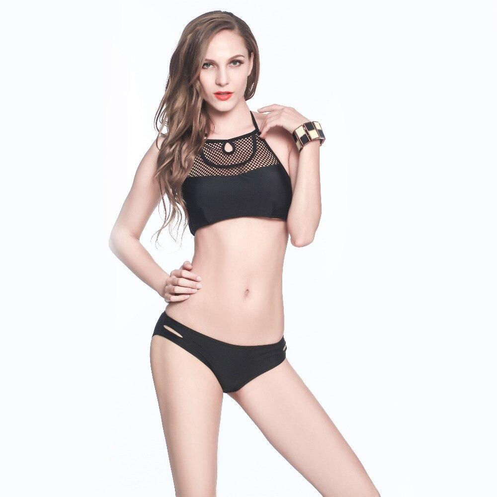 2017 Hot Sale! High Neck Mesh Brazilian Bikini Set Push Up Halter Beach Swimwear Low Waist Sexy Black Small Biquinis S6018 alfani new black women s size small s mesh back high low ribbed blouse $59 259