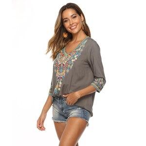 Image 4 - Neueste Trendy Hand Stickerei Blusen High end Boutique Floral Shirts Mode frauen Langarm V ausschnitt Tops Bluse Bestickt