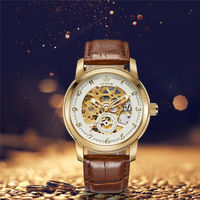 SEWOR Vintage Skeleton Men S Watch Relogio Masculino Luxury Leather Watchband Mechanical Self Wind Mechanical Wristwatches