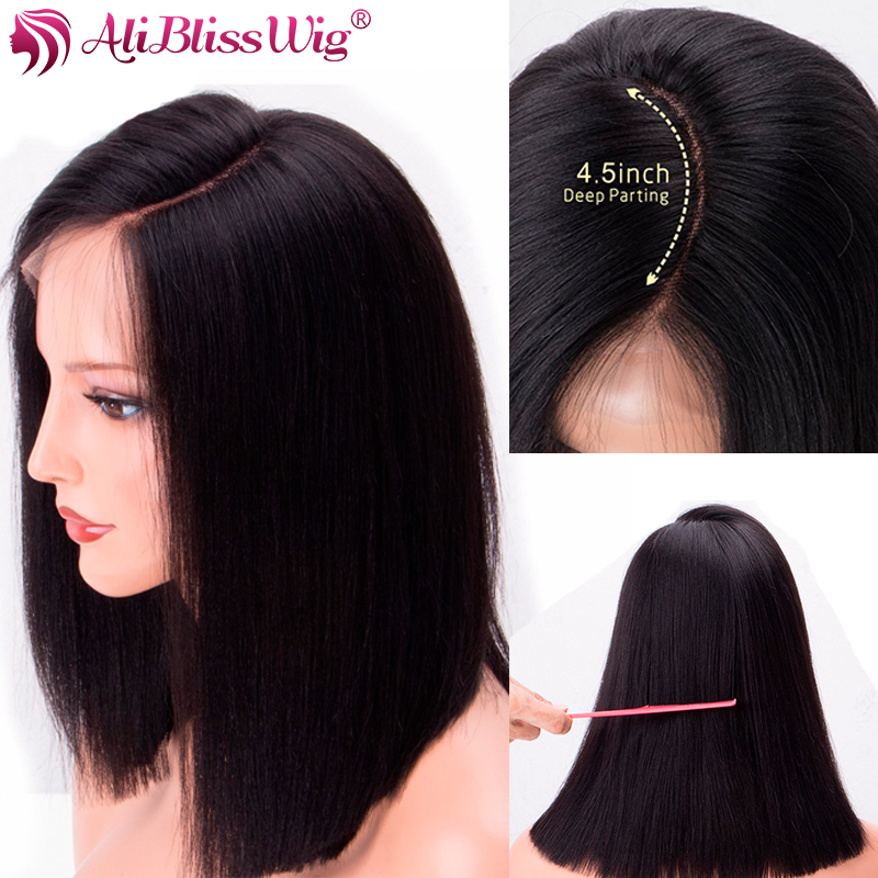 13x6 Short Bob Lace Front Wigs Straight Lace Front Human Hair Wigs For Women Deep Parting With Baby Hair Brazilian Remy Hair