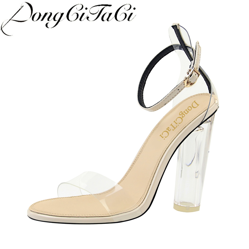 DongCiTaCi fashion women transparency sandal hollow peep toe women High heels sandal Shoe Transparent heels buckle sandal PartyDongCiTaCi fashion women transparency sandal hollow peep toe women High heels sandal Shoe Transparent heels buckle sandal Party